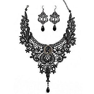 Amupper Black Lace Halskette Ohrringe Set – Gothic Lolita Anhänger Choker Kleidung Zubehör für Hochzeit Geburtstag Owen Weihnachten Custume