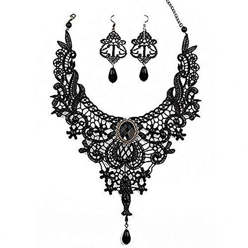 Schwarze Kostüm Ohrringe - Amupper Black Lace Halskette Ohrringe Set - Gothic Lolita Anhänger Choker Kleidung Zubehör für Hochzeit Geburtstag Owen Weihnachten Custume