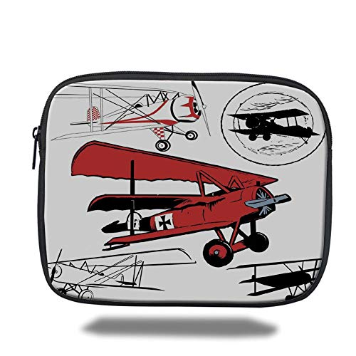 Tablet Bag for Ipad air 2/3/4/mini 9.7 inch,Vintage Airplane Decor,Collection of Various Biplanes Nostalgic Antique Silhouettes,Red White Black -