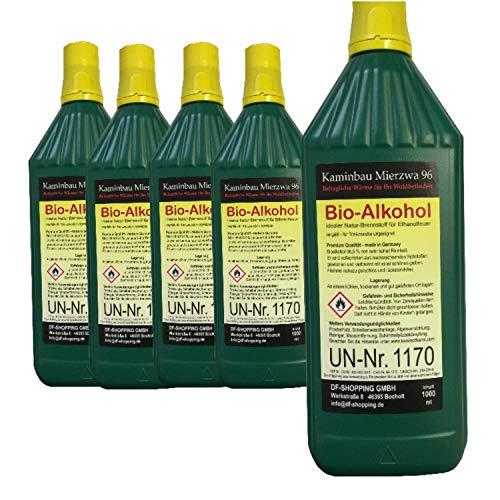 Kaminethanol Bio-Alkohol, mit Kindersicherung, umweltfreundlich, 1 Liter, 5 Flaschen