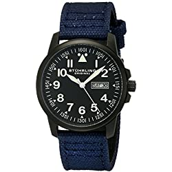 Stuhrling Original Aviator 850 Men's Quartz Watch with Black Dial Analogue Display and Blue Fabric Strap 850.03