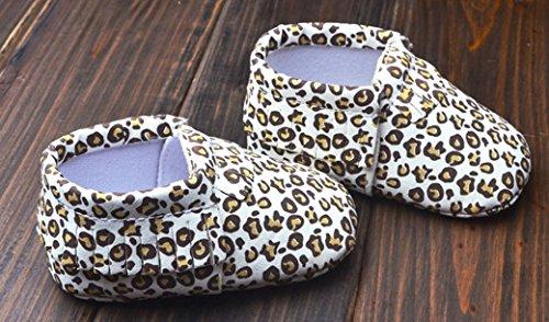 Happy Cherry Babyschuhe Herbst Kunstleder Unisex Baby Lauflernschuhe 11-13cm Länge Leopard Blumenmuster Schuhe für Baby 0-18 Monate Weiche Krabbelschuhe - Größe/Farbe Wählbar Leopard