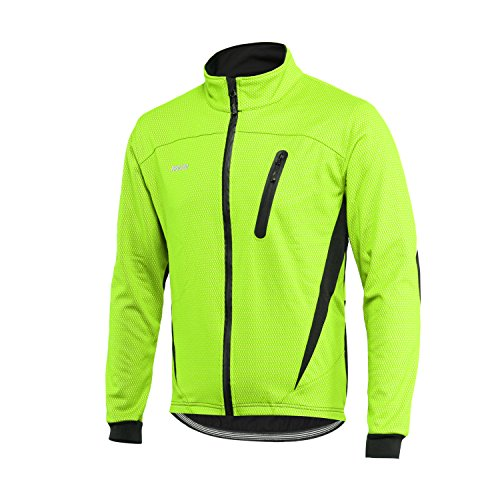 ARSUXEO Winter-Aufwärmjacke, Thermo-Fleece-Jacke, Fahrradjacke, winddicht, wasserdicht, atmungsaktiv, 16 H, Herren, grün, Large