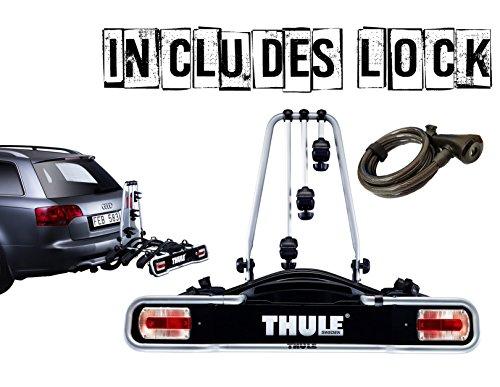 Thule 943 EuroRide Fahrradträger fürs Auto, kann bis zu 3 Fahrräder halten, vollständig abschließbar