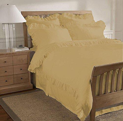 SCALABEDDING 600TC Ägyptische Baumwolle 3-teilig Gerüscht Saum Bettwäsche für King/Cal King Size Betten Taupe - Cal-king-size-bett Bettwäsche