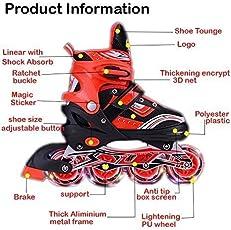Farraige Aluminum-alloy Adjustable Inline Skates with LED Flash Light on 1 PU Wheel (Red/Black)