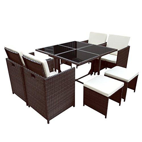 POLY RATTAN Essgruppe Rattan Set mit Glastisch Garnitur Gartenmöbel Sitzgruppe Lounge (4 Stühle, Braun)
