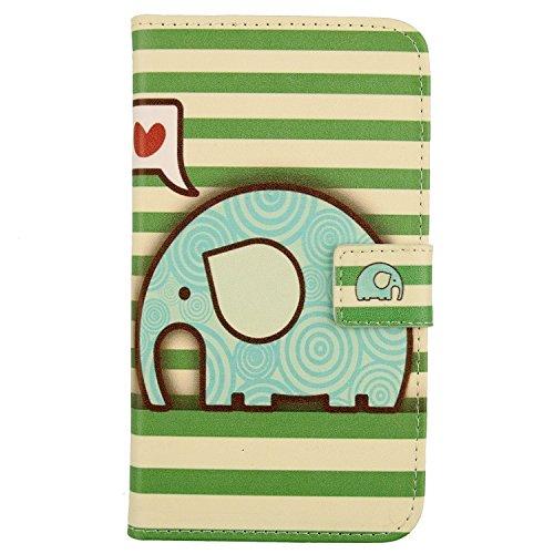 Lankashi PU Flip Leder Tasche Hülle Case Cover Schutz Handy Etui Skin Für Archos Sense 47X 4.7 (Elephant Design)