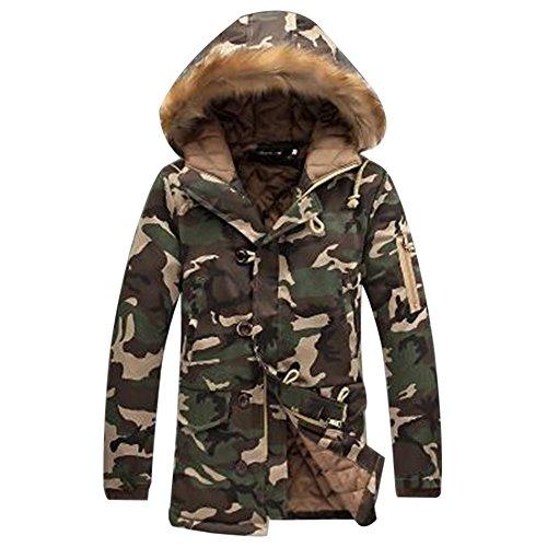 bd41ec1fae93ba Rera Herren Winter Warm Parka lange Camouflage Jacke Übergangsjacke Outwear  Kapuzenjacke Zip-Hoodie Steppjacke Sweatjacke