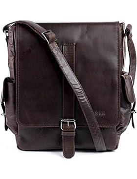 FEYNSINN® Messenger Bag ASHTON - Herren Umhängetasche XL groß Ledertasche fit für 13