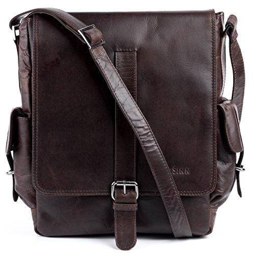 """FEYNSINN® Messenger Bag ASHTON - Herren Umhängetasche XL groß Ledertasche fit für 13 """" Zoll Laptop, iPad - Kuriertasche Herrentasche echt Leder braun"""