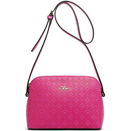 CLUCI Damen/Mädchen Ledertasche Handtasche Umhängetasche Schultertasche Klein Rosa-Rot 10-Rosa