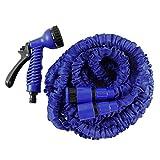HELO Gartenschlauch Flexi 30 m ausgedehnt (10 m zusammengefaltet), Farbe: Blau - Flexibler Garten Flexischlauch Wasserschlauch mit verstärktem Gewebe inkl. 7 Funktionen Spritzpistole und Schlauch Schnellkupplung