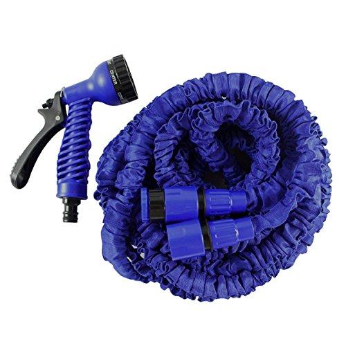 Helo Gartenschlauch \'Flexi\' 15 m ausgedehnt (5 m gefaltet), Farbe: Blau - Flexibler Garten Flexischlauch Wasserschlauch mit verstärktem Gewebe inkl. 7 Funktionen Spritzpistole