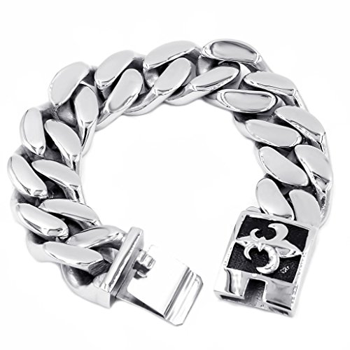 Adisaer Titanium Stainless Steel Curb Chain Bracelet Length 24CM Weight 168g Silver