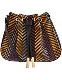 Accessorize London Joanne Woven Duffle Bag Women's Sling (Darks-Multi)