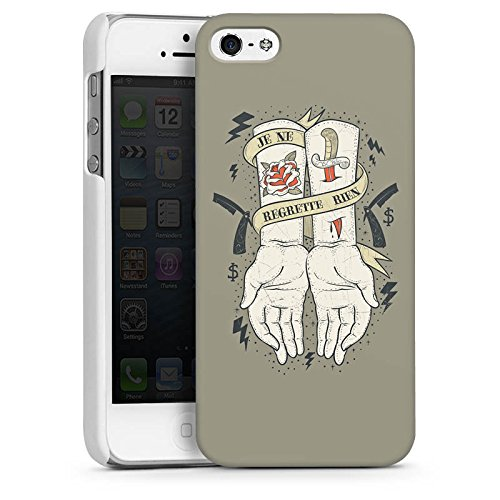 Apple iPhone 4 Housse Étui Silicone Coque Protection Tatouage Phrase Mains CasDur blanc
