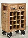 Wein-Kommode mit 2 Schubladen aus massivem Mango-Holz Antik-Finish 55x35 cm | Crust | Hochwertiges Wein-Regal mit starken Gebrauchsspuren Ablage für 16 Flaschen 55cm x 35cm