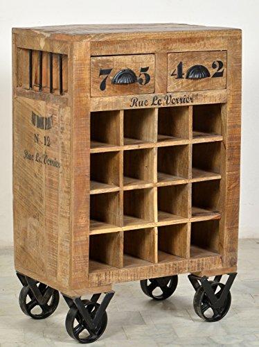 Antik-look-finish (Wein-Kommode mit 2 Schubladen aus massivem Mango-Holz Antik-Finish 55x35 cm | Crust | Hochwertiges Wein-Regal mit starken Gebrauchsspuren Ablage für 16 Flaschen 55cm x 35cm)