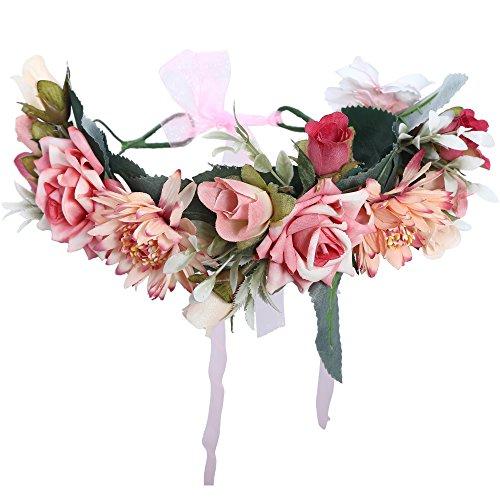 (AWAYTR Blumen Stirnband Hochzeit Haarkranz Krone - Frauen Mädchen Blumenkranz Haare für Hochzeit Party(Hell-Pink))