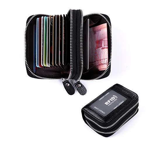 Leaptech Leder Karten Geldbörse Leder Kreditkartenetui RFID Scheckkarten Kartenetui Visitenkartenetui Hülle-Halter-Schutz Damen Herren 12 Fächer (Doppelschicht)
