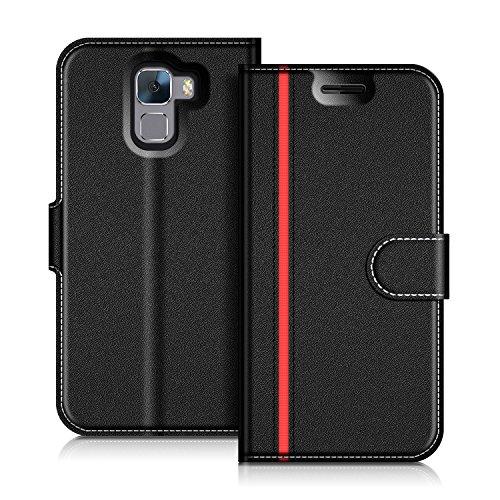 Coodio Honor 7 Hülle Leder Lederhülle Ledertasche Wallet Handyhülle Tasche Schutzhülle mit Magnetverschluss / Kartenfächer für Huawei Honor 7, Schwarz/Rot