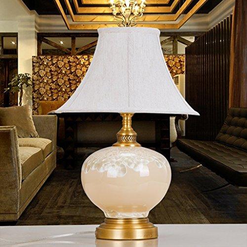 Lampe de table F Lampes de table en céramique - Lampes de table décoratives en céramique haut de gamme de lits de chambre à coucher - Lumières de jardin européennes faites à la main de tissu de cuivre