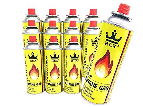 12er-Pack REX Camping Gaskartusche BUTAN-Gas à 227g Inhalt pro Flasche für Camping-Kocher Outdoorakt