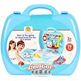 Planet of Toys Doctor Pretend Play Medical Center Suitcase Set 19 Easy to Assemble Parts and Accessories for Kids/Children
