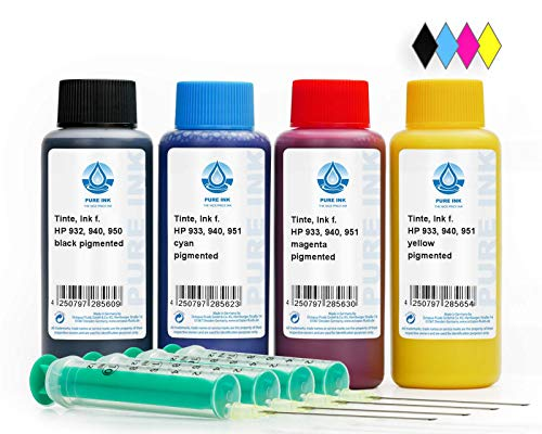 4x100 ml of ink to refill PureInk, For HP Printer Ink 932, 933, 940, 950, 951 Printer cartridges, (not OEM)