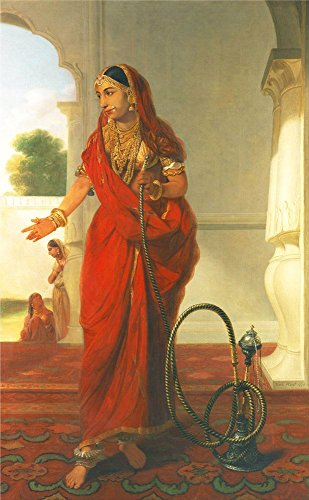 Suryastores: Indian Lady in Red Saree- Indian Vintage Painting, Canvas print (16x20...