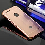 Schutzhülle für Google Pixel XL Hülle Shockproof,Slynmax Spiegel Design Rosegold Ultradünn Metall Bumper Case Hart PC Plastik Stoßfest Rückschale Cover Schutzhülle für Google Pixel XL Dual Layer 2in1 Electroplate Handy Rückseite Anti-Scratch Case Handyhülle Transparent Mirror Crystal Clear Hybrid Heavy Duty Etui Outdoor Tasche Backcover + 1x Schwarz Eingabestift Touchstift Stylus Pen