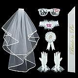 """7 piezas """"Bride to be"""" Set de fiesta de decoración incluido velo, guantes + + liga + gafas + cinta + broche insignia"""