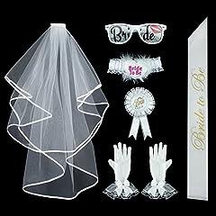 Idea Regalo - Addio al Nubilato Gadget,Velo+guanti+giarrettiera+occhiali+fascia+spilla+distintivo, 7 Pezzi Un divertente pacchetto per decorare l'addio al nubilato della vostra sposa!