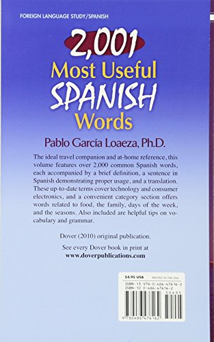 2,001 Most Useful Spanish Words (Dover Language Guides Spanish)