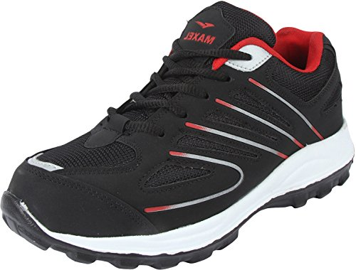 Maxel Men's Black Mesh Running Shoes - 8 UK