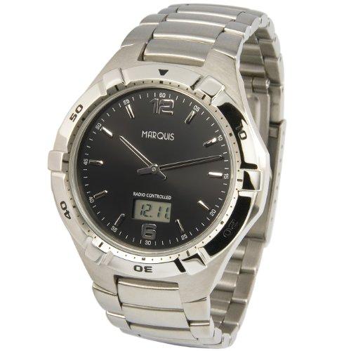 MARQUIS Herren Funkuhr, Gehäuse und Armband aus Edelstahl, Armbanduhr, Junghans-Uhrwerk 964.6254