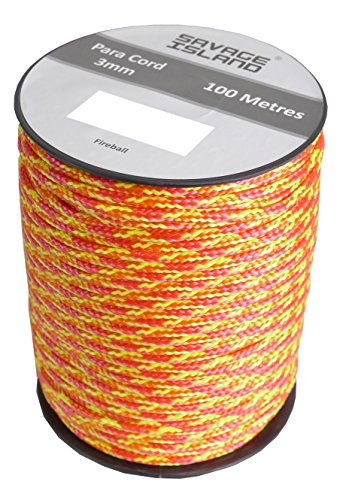 100m Reel Paracord Army Camping for Tent Basha Bivi Shelter Buidling Hammock Gardening Bushcraft in Green, Black, Coyote and Red Colours (Fireball)
