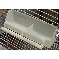PanpA Sostenible Alimentador de Pájaros de plástico Dispensador de Agua de Pájaros Fuente del Bebedor de Loro Ranura de Alimentación Colgante para Pájaro Blanco