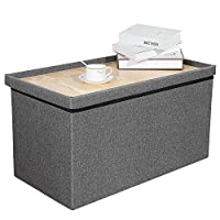 Bonlife Grey Ottoman Storage Boxes Wooden Chest Foldable Long Bench Tea Table, 76.5x40.5x38cm