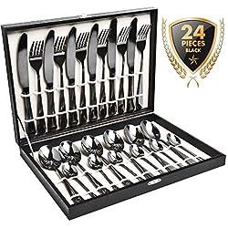 Juego de cubiertos, juego de cubiertos de oro negro HOBO de 24 piezas, juego de cubiertos de acero inoxidable, el juego de utensilios incluye cuchillos, tenedores, cucharas, cucharas de postre, servicio para 6