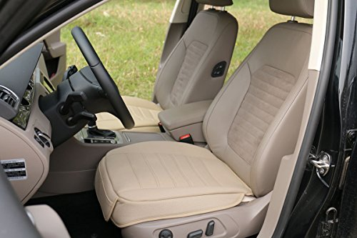 EDEALYN O-QP002-Beige PU Leather Car Seat Cover Pad Mat Car Chair Cover 1 Piece Front Row Seat Cover beige width 20.47 × deep 20.8'' 8 X 20 Camo