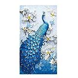 VORCOOL 5D Diamant Malerei Rahmenlose Stickerei Bilder Handgefertigt Pfau Leinwand Malerei Kunst Arbeit für Haus Wand Dekor (45cm X 75cm)