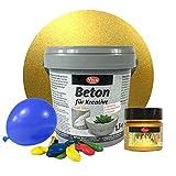 Beton-Set für kreative Windlichter (Set mit Farbe Gold) - Metallic Beton-Set für kreative Windlichter, Beton für Kreative, Windlichter, Schalen, Bastelbeton, Gießbeton, Maya Gold Viva Decor
