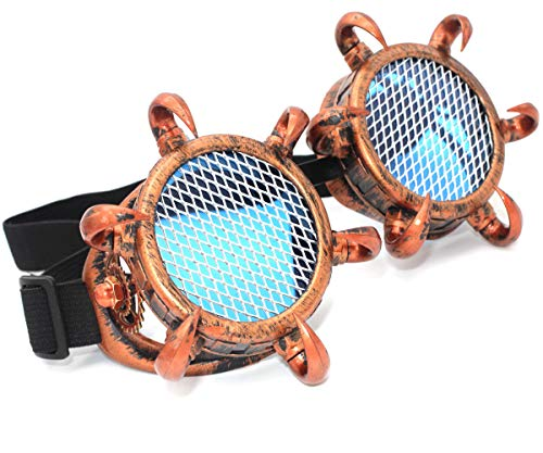 MFAZ Morefaz Ltd Schutzbrille Schweißen Sonnenbrille Welding Cyber LED Goggles Steampunk Goth Round Cosplay Brille Party Fancy Dress (Spikes Copper Grid)