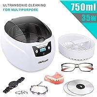 MVPower Ultraschallreinigungsgerät 750ml mit Edelstahl Ultraschallbad, 35W Ultraschallgerät [für Brillen, Zahnprothese, Schmuck, Uhren] Ultraschallreiniger mit Waschkorb und Uhr Halter persönlich zuha
