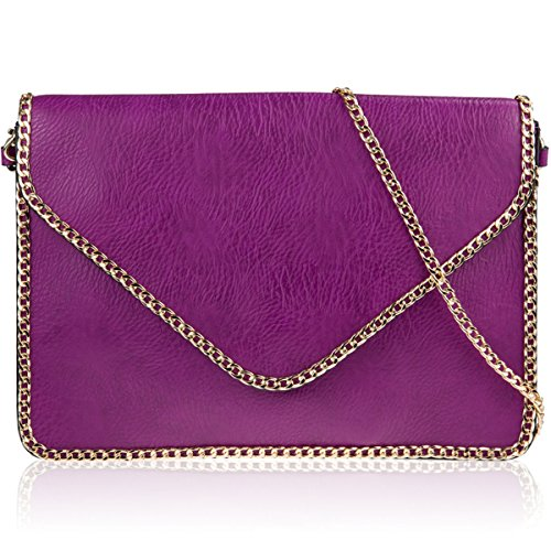 xardi Londra catena in finta pelle Donna Pochette Sposa Designer partito di sera borsa Purple