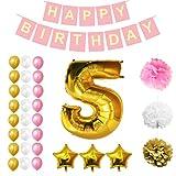 5. Geburtstag Dekorationen - Glücklich Geburtstag Banner einstellen Mit Ballons, Pom Pom, Latex Ballons 32 Stck durch Belle Vous - Gold, Weiß & Rosa Party Lieferungen für Kinder