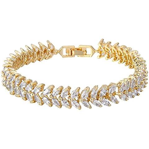 EVER FAITH® nuziale Gold-Tone 2 strati trasparente bracciale tennis Foglia zircone