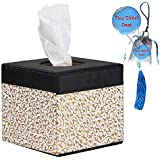 YSYT Deal Euro PU Leather lovely creative White-Gloden Flower Squared tissue box holder